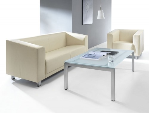 Profim vancouver white sofa and rectangular table glass