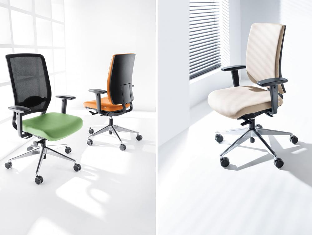 Profim Veris Ergonomic Adjustable Chair Upholstered Orange Beige Green or Mesh Backrest
