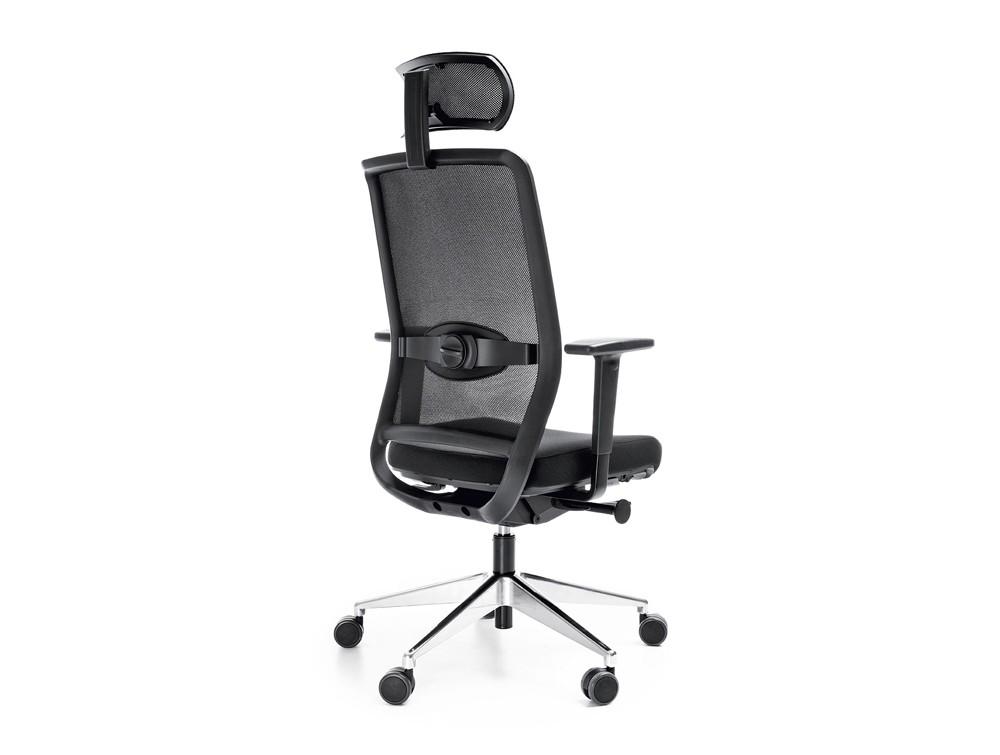 Profim veris net ergonomic chair in mesh with headrest back angle