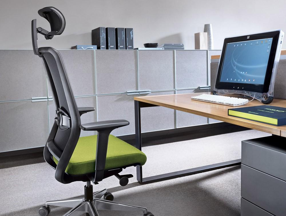 Office with profim veris net ergonomic chair in mesh with headrest