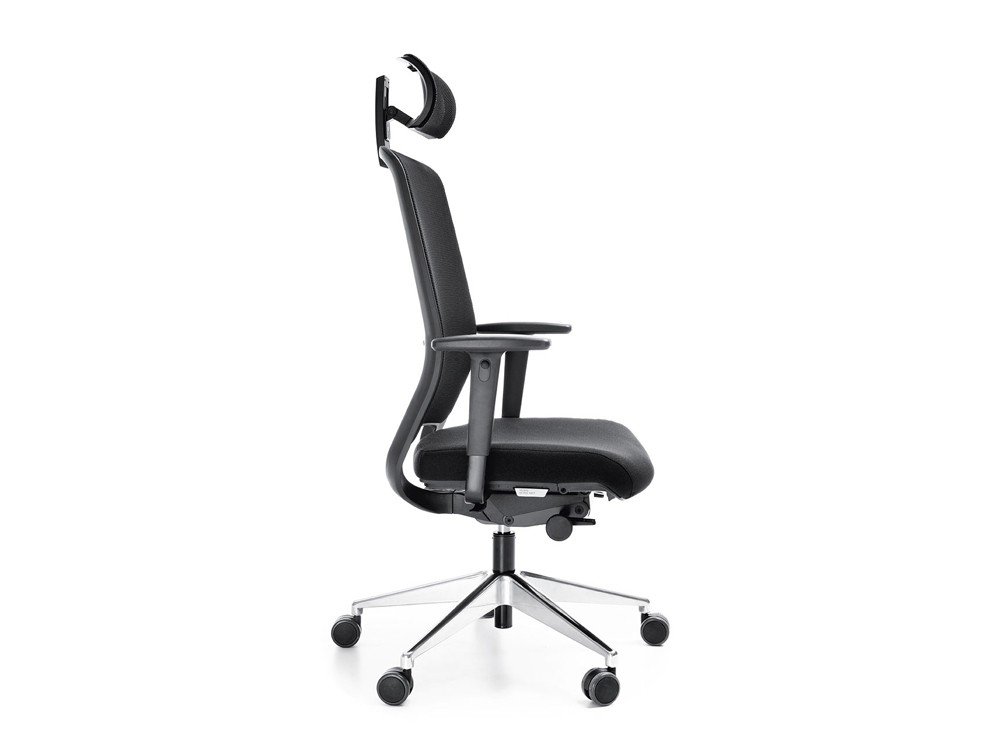 Profim veris net ergonomic chair in mesh with headrest side angle