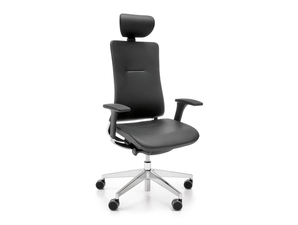 Profim Violle Executive Chair In Black Leather with Polished Aluminium Base