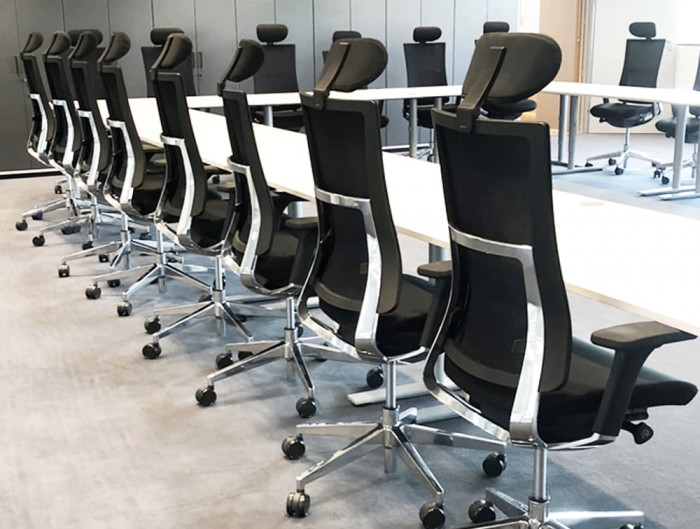 Profim Violle Executive Chair with Mesh Backrest Armrests and Headrest in Meeting Room