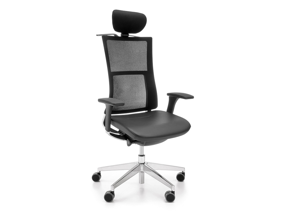 Profim Violle Executive Ergonomic Chair with Black Leather Seat and Mesh Back with Headrest and Armrest