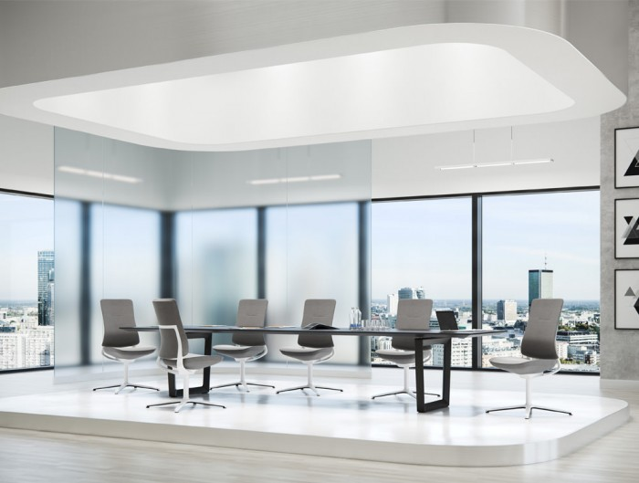 Profim Violle Executive Meeting Chair with White Frame and Grey Upholstered Seat and Back with Boardroom Table