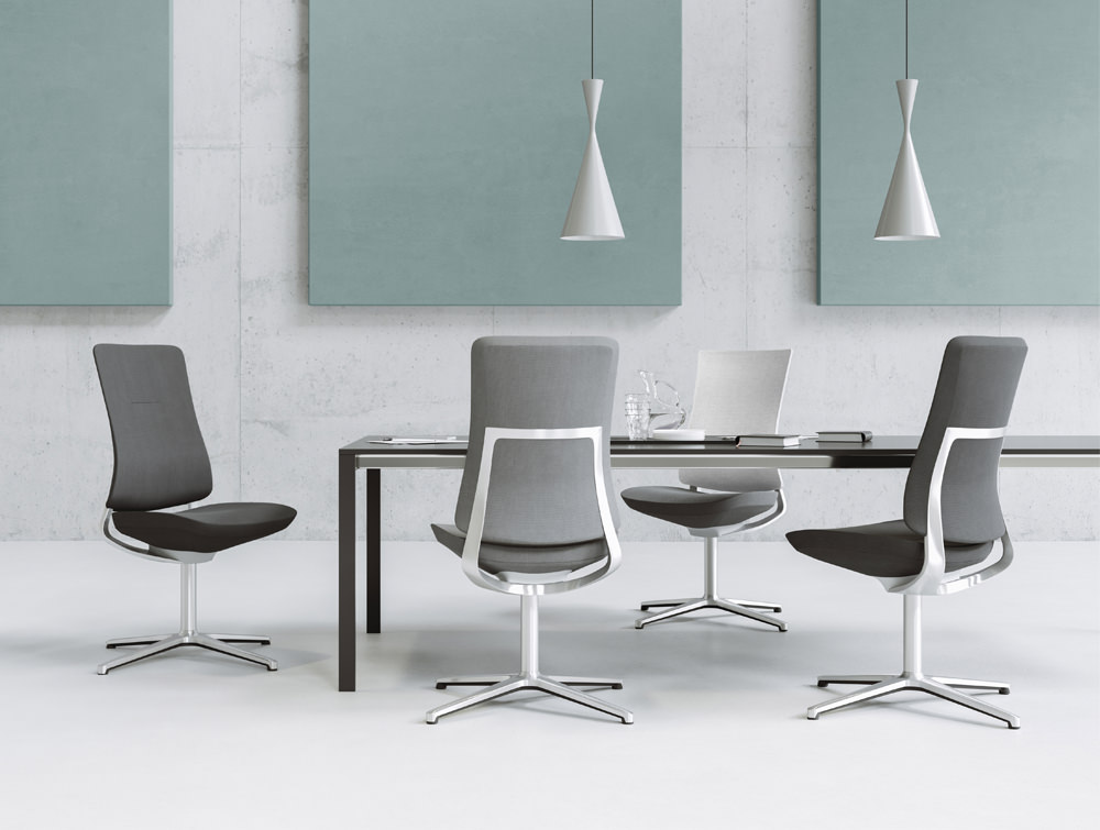 Profim Violle Executive Meeting Chairs with Upholstered or Mesh Back with Tables Acoustic Panels and Ceiling Lighting