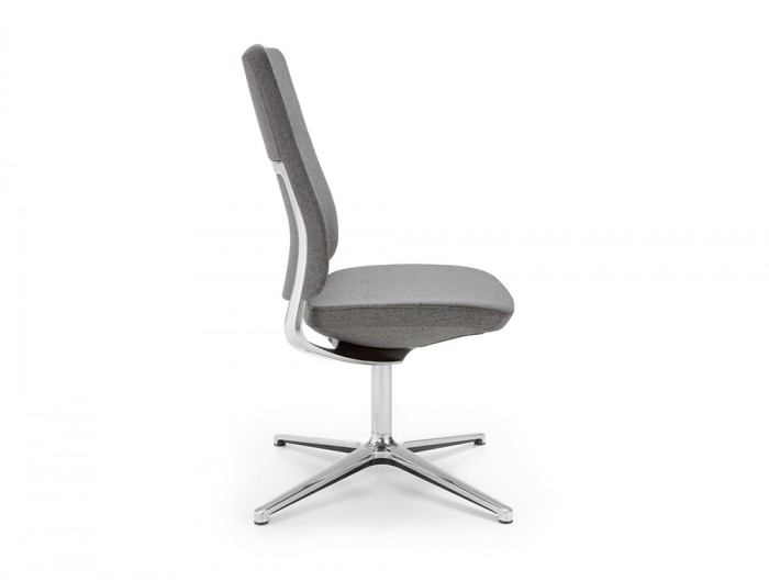 Profim Violle Executive Meeting Room Chair Upholstered Shell in Grey Finish with 4-Star Base in Chrome Aluminium Finish