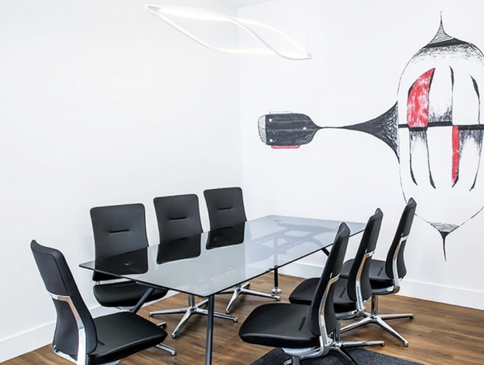 Profim Violle Executive Meeting Room Chair in Black Leather with Chrome Base with Glass Rectangular Table with White Ceiling Lighting