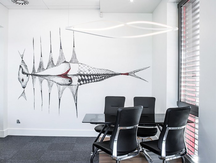 Profim Violle Fully Upholstered Chair with Chrome Frame for Executive Office with Design Ceiling Lighting