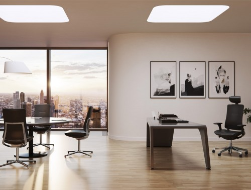 Profim Violle Office and Meeting Room Chair in Executive Office in Leather Finish with Round Table Desk and Freestanding Lighting