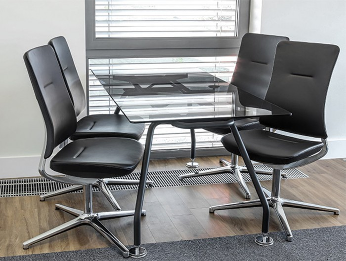 Profim Violle Visitor Chair Black Leather Finish with Chrome Base and Meeting Glass Table