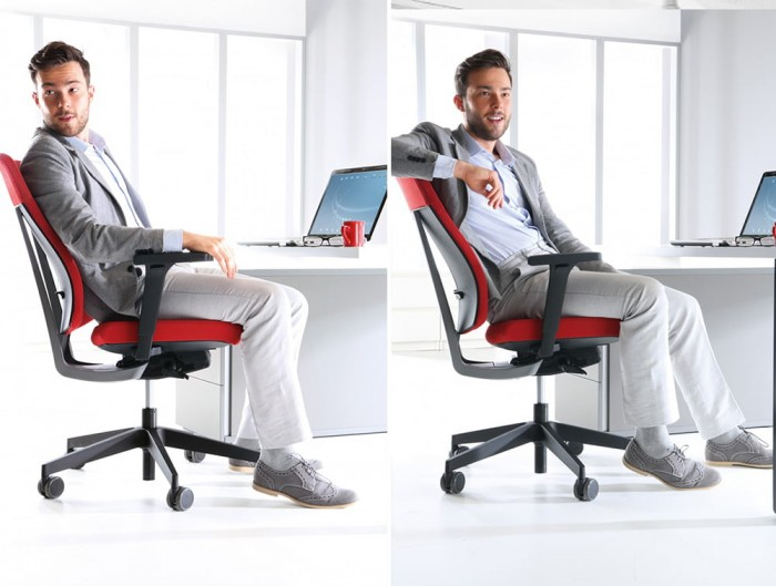Profim Xenon Adjustable Ergonomic Chair Upholstered Red for Office Desk with Armrests