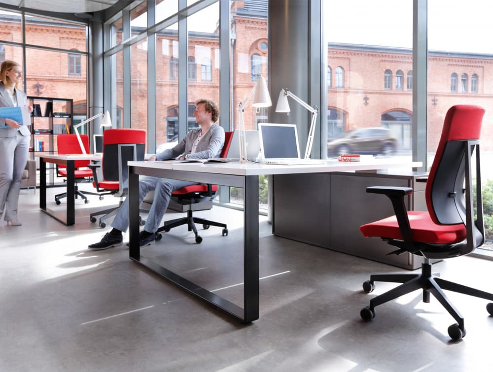 Profim Xenon Adjustable Ergonomic Chair in Open Office Space with Back to Back DeskStorage and Sofa