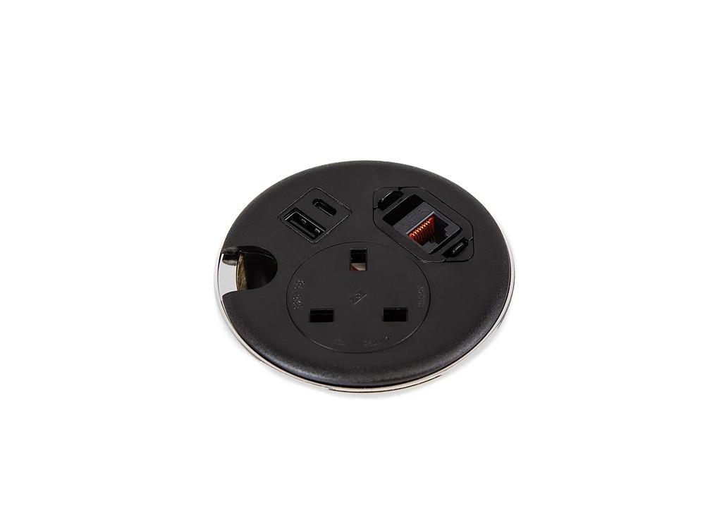 Punto Black Power Socket Desk Module USB Charging