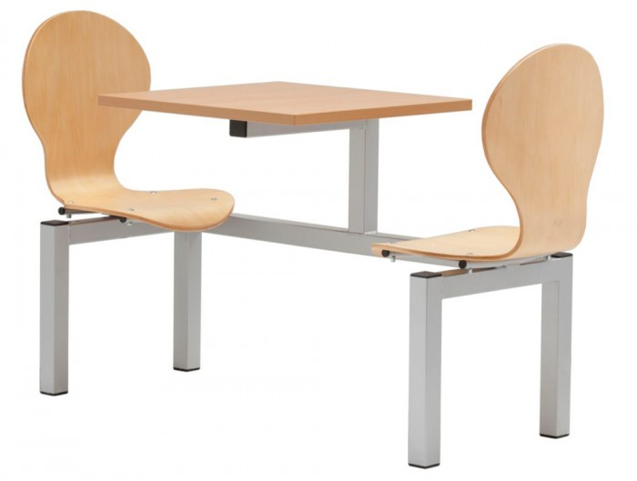 Purston Fast Food Fixed Furniture Set Beech Finish 2 Seater
