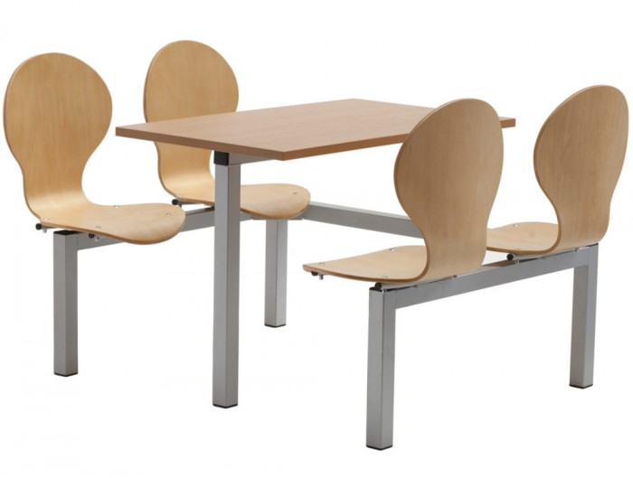 Purston Fast Food Fixed Table and Chairs Four Seaters Single Entry