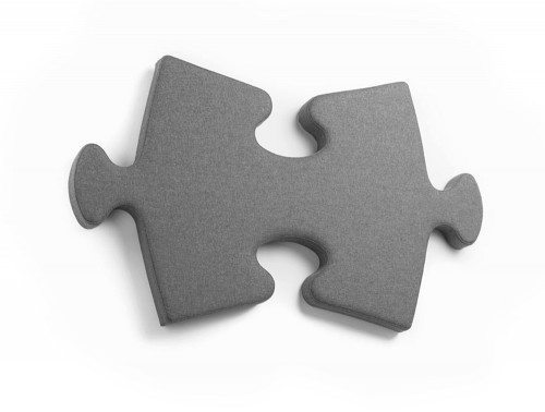 Puzzle Piece Acoustic Wall Panel in Grey