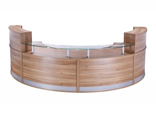 REC-FHRLHR-ABW Elite 4-Section Semi Circle Reception Unit in Walnut