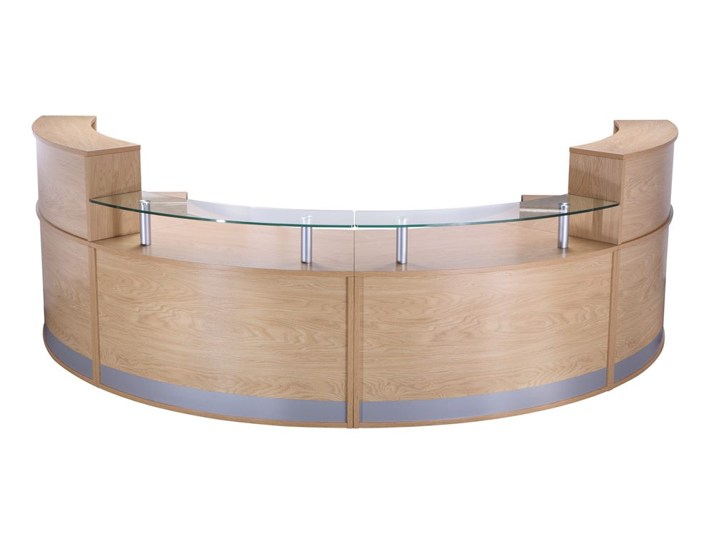 Elite 4-Section Semi Circle Reception Unit - Oak