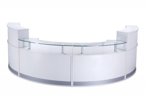 REC-FHRLHR-White Elite 4-Section Semi Circle Reception Unit in White