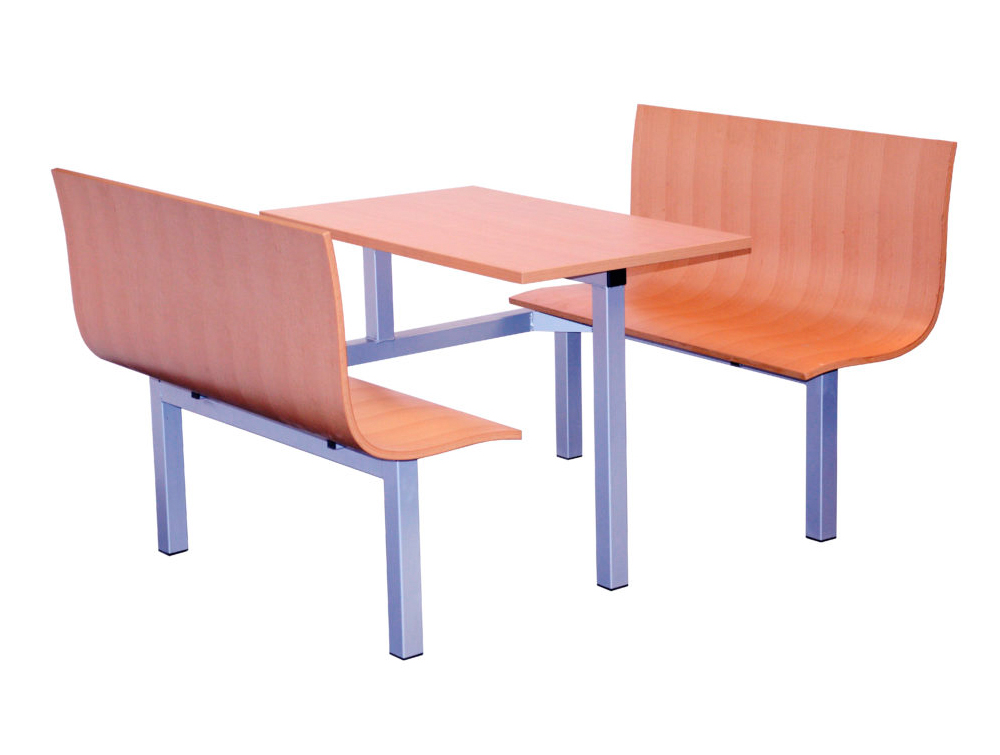 Radstone Fast Food Fixed Furniture Set Table and Benches Single Entry