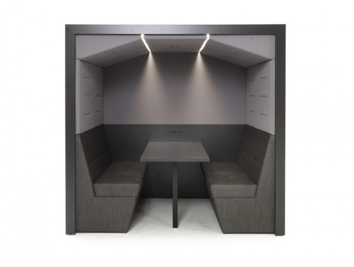 Railway-Carriage-Wooden-Framed-Acoustic-Meeting-Booth-Flat-Roof-Arch-in-Grey-with-Stripe-Light