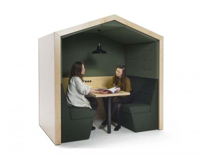 Railway-Carriage-Wooden-Framed-Acoustic-Meeting-Pod-with-Table-Pitched-Roof-Green-WorkSpace