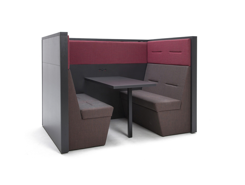 Railway-Carriage-Wooden-framed-Acoustic-Meeting-Booth-Banquette-4-Seats-with-Back-Powermodule