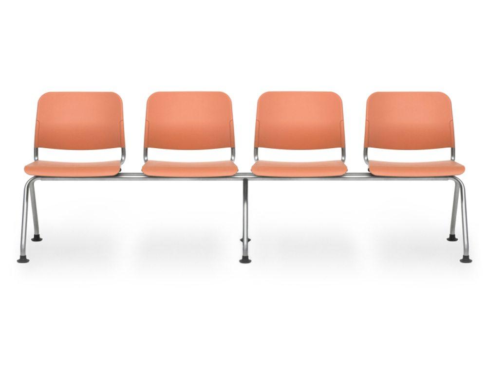Reception Beam Seating in Orange - metal frame