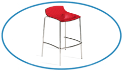 Red Translucent Canteen Bar Stool Chair