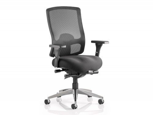 Regent Task Operator Chair Black Fabric Black Mesh Back With Arms Featured Image