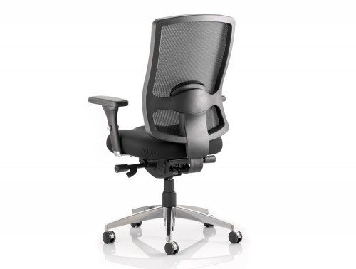 Regent Task Operator Chair Black Fabric Black Mesh Back With Arms Image 3