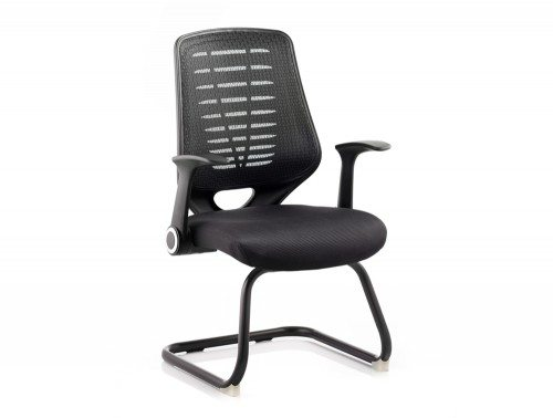 Relay Visitor Cantilever Airmesh Seat Black Back With Arms Image 1