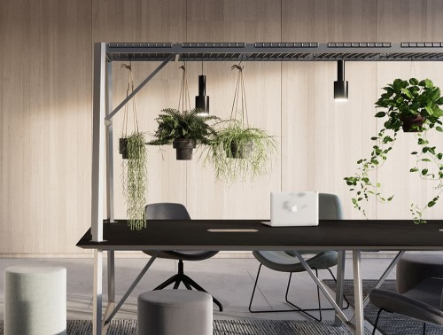 Relic-Cloud-Outdoor-Themed-Meeting-Room-Table-with-Grey-Frame-and-Black-Table-Finish-with-Hanging-Plants.jpg