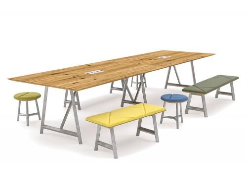 Relic Hotdesking table with rectangular stools
