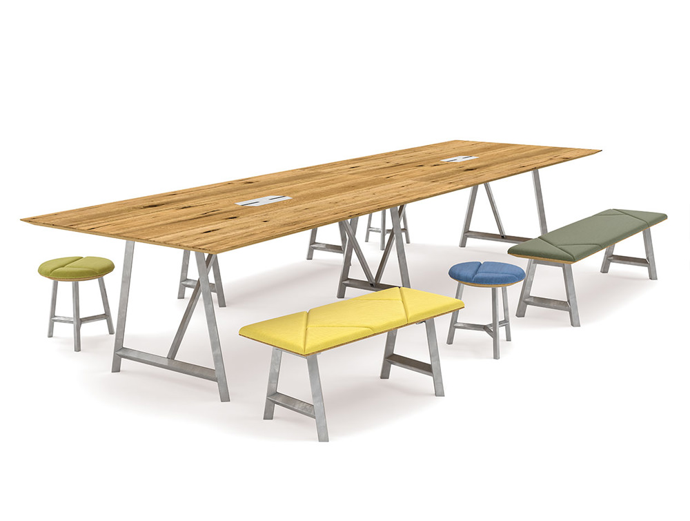 Relic Hotdesking table with rectangular stools