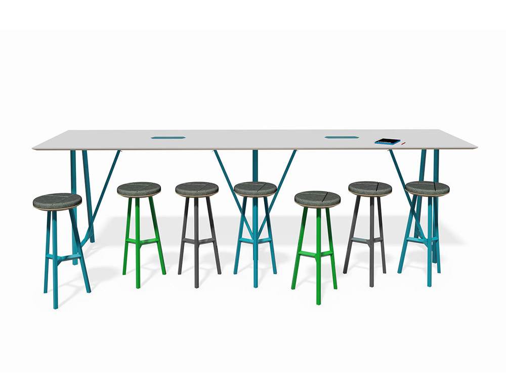 Relic Poseur Hotdesking table with round stools