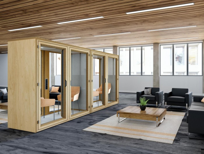 Residence-Meet-Wooden-Box-Acoustic-Meeting-Pod-in-Reception-Area