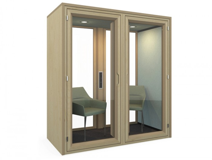 Residence-Meet-Wooden-Box-Acoustic-Meeting-Pod-with-Spotlight-Kit-and-Lounge-Chair