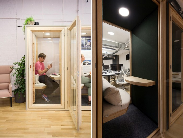 Residence-Work-Wooden-Box-Acoustic-Phone-Booth-and-Workstation-with-Tablet-and-Seating-Cushion