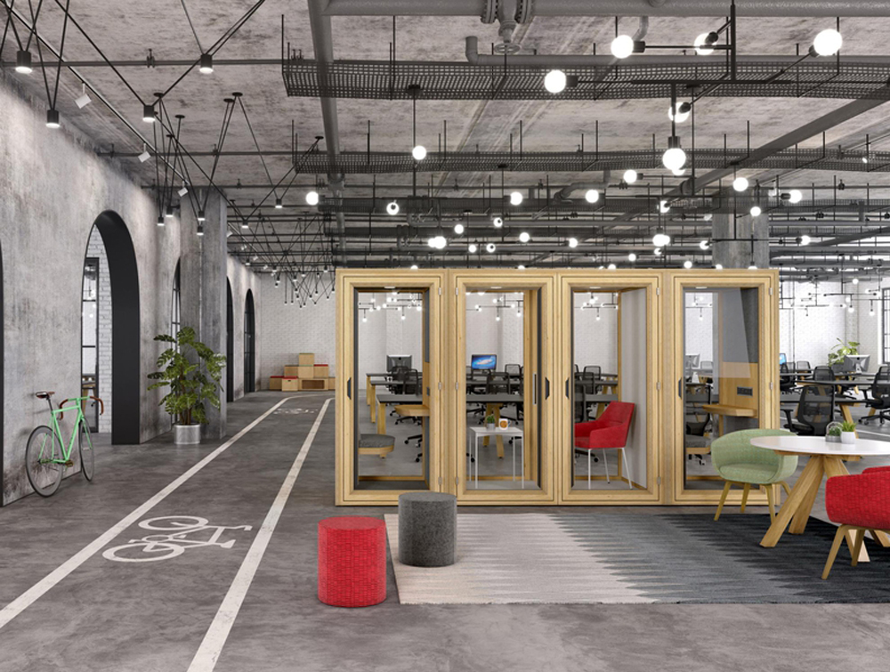 Residence-meet-Wooden-Box-Acoustic-Meeting-Pod-in-Open-Space-Office-with-Individual-Workstatiom