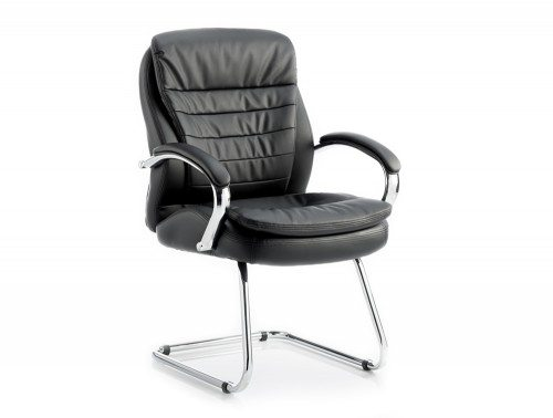 Rocky Visitor Cantilever Chair Black Leather High Back With Arms Featured Image
