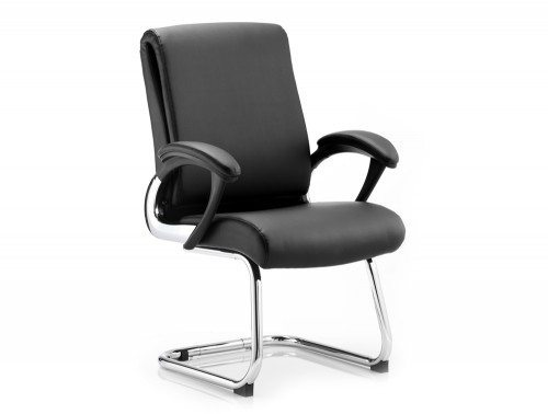 Romeo Visitor Cantilever Chair Black Leather With Arms Featured Image