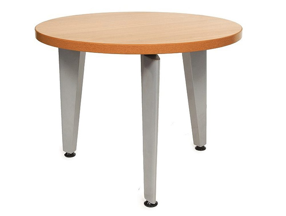 Elite Round Coffee Table With Silver Legs In Beech