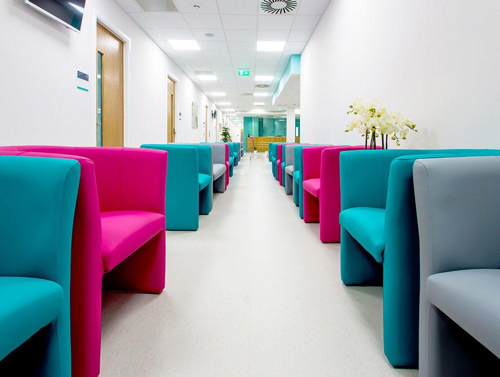 Floor with vibrant coach seats
