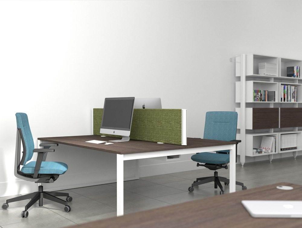 Royal Oak Table Top with White Open Leg and Blue Office Chairs with Green Desk Mounted Screen