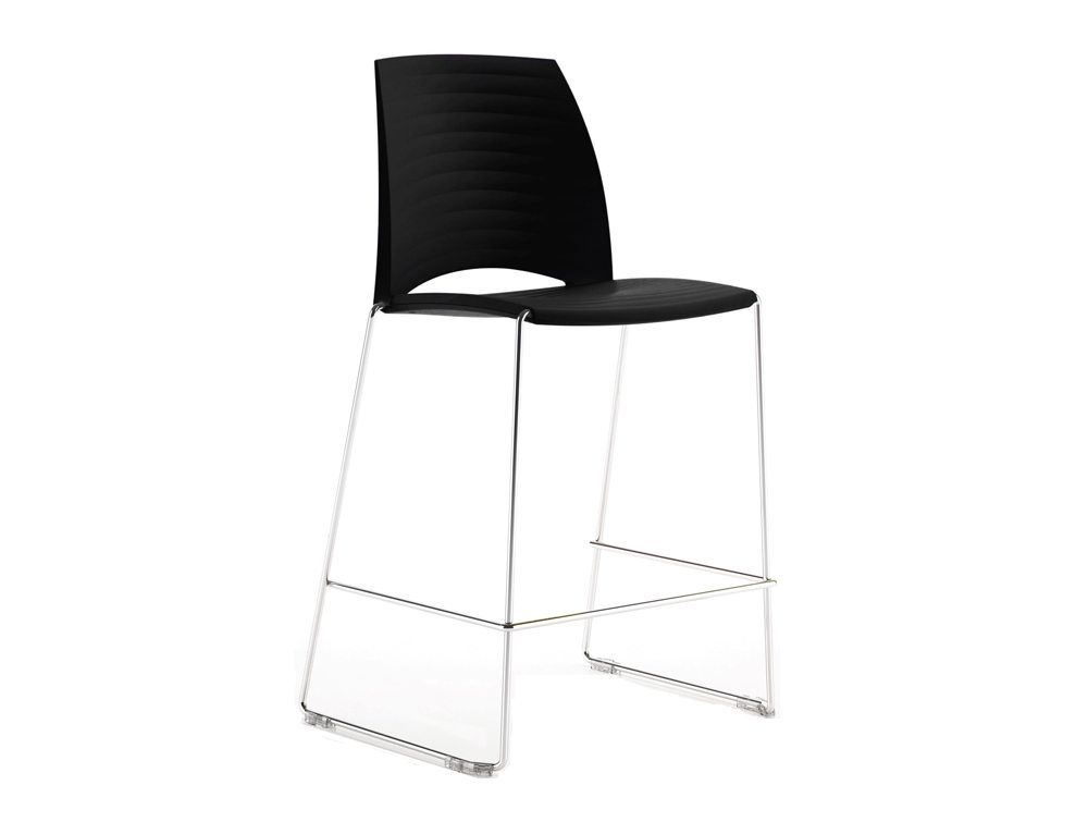 S1HSBK Sand Sled Stackable Conference Stool in Black