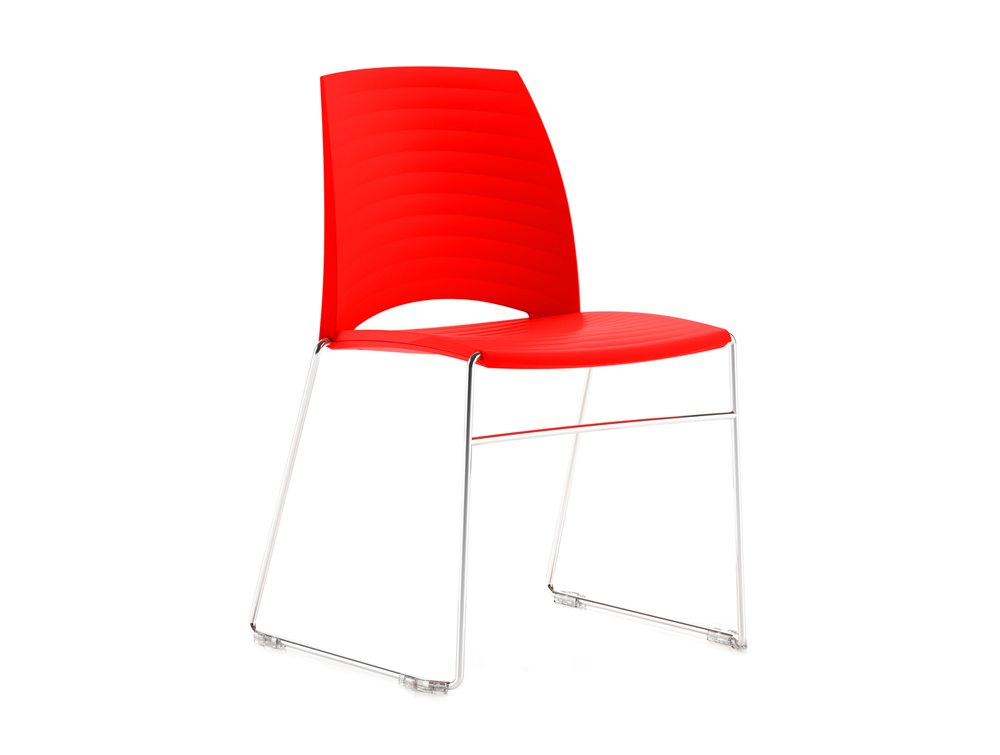 Sand Sled Stackable Conference Chair - Bright Red
