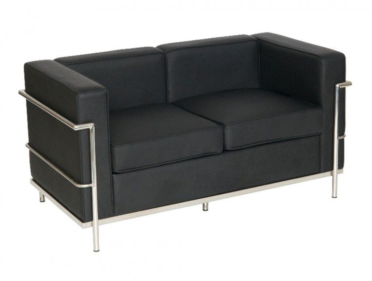 Corbusier Style 2-Seater Sofa in Black Eco Leather