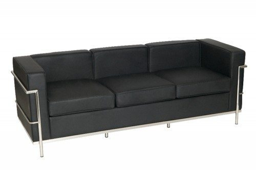 Corbusier Style 3-Seater Sofa in Black Eco Leather
